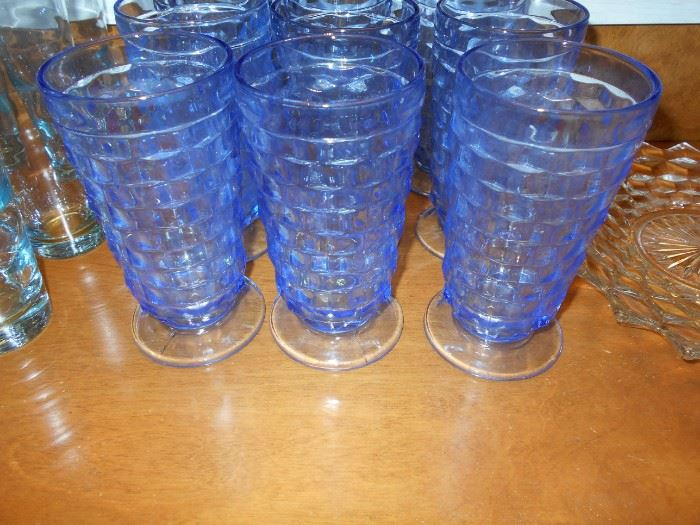 Fostoria American pattern blue glasses