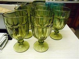 Fostoria Moonstone pattern green drinking glasses set of 8