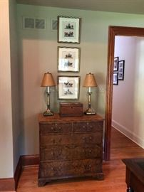 Burled English Five Drawer Chest