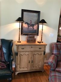 Antique Pine Cabinet, Buffet Lamps, Jockey Painting