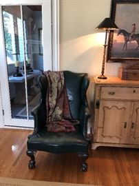 Leather Wing Chair , dark green leather