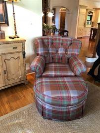 Plaid Chair/Ottoman