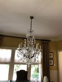 Venetian Crystal Chandelier featuring cascading grape and apple motif ( will need professional removal)
