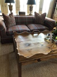 Pair of Plaid Sofas, Over-sized English Pine Coffee Table