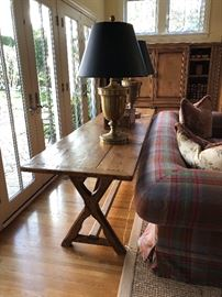 English Pine Sofa Table,  Large Brass Urn Table Lamps