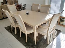 Blonde dining room table and six chairs