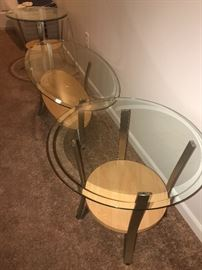 WOOD , METAL AND GLASS ROUND SIDE TABLES AND COFFEE TABLE