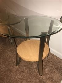 WOOD , METAL AND GLASS ROUND SIDE TABLE-2 AVAILABLE