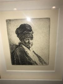 "REMBRANDT VAN RIJN "" BUST OF MAN WEARING A HIGH CAP"" ETCHING 1630"