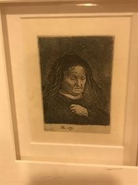 """REMBRANDT VAN RIJN """" THE ARTIST'S MOTHER WITH HER HAND ON HER CHEST""""SMALL BUST  ETCHING -1631"""