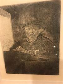 """REMBRANDT VAN RIJN """" SELF PORTRAIT DRAWING AT A WINDOW"""" 1648"""