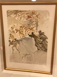 """SALVADOR DALI RISING TO THE 7TH LEVEL:LUXURY """"PURGATORY 25""""  WOOD ENGRAVING IN COLOR ON RIVES PAPER 1951-1964"""