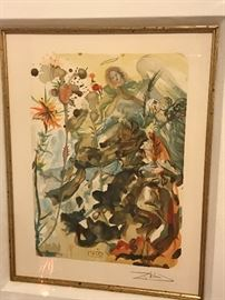 """SALVADOR DALI                                                                          SAINT JOHN AND HOPE  """"PARADISE 25""""  WOOD ENGRAVING IN COLOR ON RIVES PAPER 1951-1964"""
