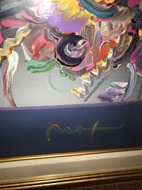 PETER MAX MIXED MEDIA PAINTING NEW YORK FLOWER SHOW-1999