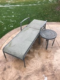 SUN LOUNGER AND SMALL ROUND TABLE