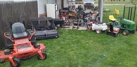 Bad Boy zero turn, John Deere lawn tractor, Craftsman lawn sweep, snow blower, air compressor, Homelite edger, power washers, chainsaws, power drain snake, weed whips, hedge trimmers, yard cart, chemical spreader