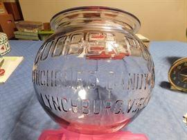 Old Goober Puffs Lynchburg  Glass Counter Candy Jar