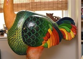 "$650- Sergio Bustamante Paper Mache Ostrich Art Sculpture (Approx. 40"" L x 21"" W x 74"" H, some minor damage)"