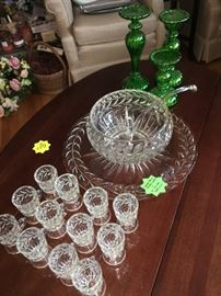 Punch bowl, underplate, 12 pedestal cups and ladle