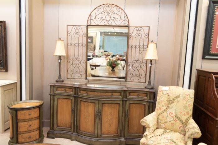 SO NICE!  This mirror is not attached to the buffet, and is sold separately.