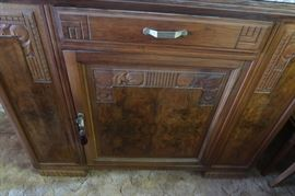 Art Deco / French Country dining room set.  6 chairs, custom glass top made for dining room table.  Solid marble top on the sideboard.  Made from Burl Walnut, from France.