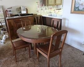 Art Deco / French Country dining room set.  6 chairs, custom glass top made for dining room table.  Solid marble top on the sideboard.  Made from Burl Walnut, from France. $1000