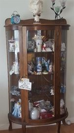 "Gorgeous Curio Cabinet & Loads of Knick Knacks 58"" T x 32"" W x 14"" D"
