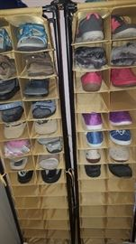 Shoe Holder on Wheels (2) & Lots of Shoes sizes 9-10