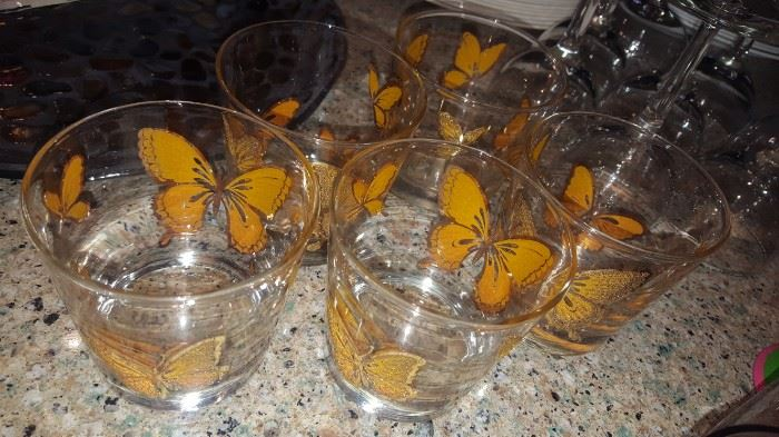 Vintage Butterfly Cocktail Glasses (5)