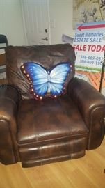 Brown Leather Chair.  Electric