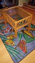 Rattan Glass Top Table & Area Rug