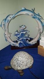 Turtle Light & Large Dolphin Figurine/Scupture