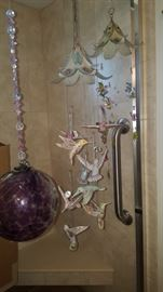 Hand Blown Purple Glass Ball, VERY UNIQUE Hanging Ornament with Glass Hummingbirds & another with Glass Flowers & Butterflies (Has space to add more beauties of your choice)