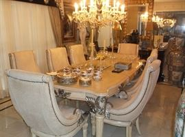 Large dining table and eight chairs