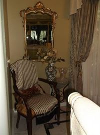 Side chair and ornate frame mirror