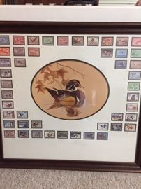 Don Edwards duck print with stamps