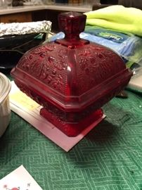 red lidded compote