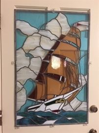 ship stained glass panel
