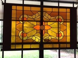 yellow  orange stained glass panel