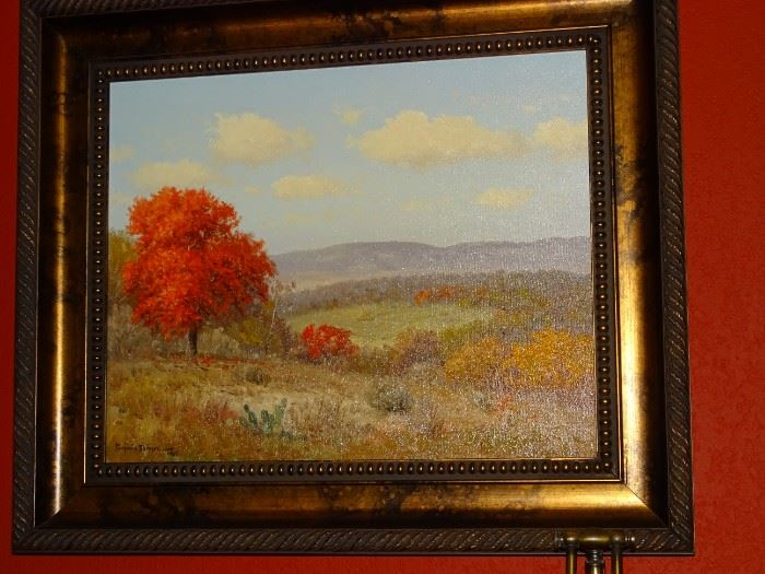 """Original Porfirio Salinas """"Texas Autumn Landscape"""" oil painting.      21""""x17"""" (26""""x20.5"""" framed)     Signed and Dated 1966.     $14,500.00     Contact for purchase or more information"""