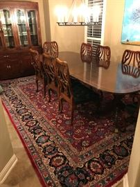 Beautiful antique 12ft double pedestal table as well as a vintage hutch and Handmade Persian rug (room size)