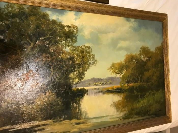 WOW !!!!! An original oil painting on board by famous Austin TX artist A.D. Greer