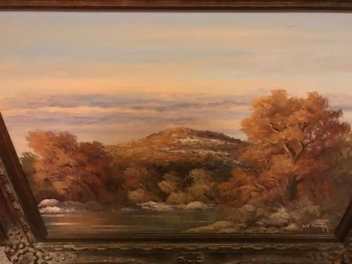 Fantastic Texas Hill Country Oil Painting by W.B. Franklin. William Buchannon (Dub) Franklin
