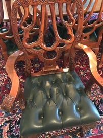 Nice Leather Seat Carved Chairs