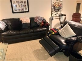 Leather sofas, coffee & end tables