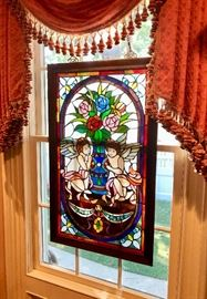 Stained glass window & lamps
