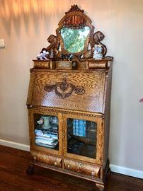Antique Oak secretary/cabinet with drop down desk