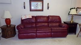 leather Sofa, End Tables, Lamps, Picture, Sconces, in Basement