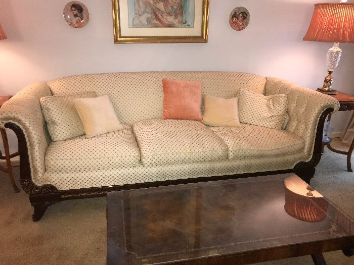 Stunning, sleigh style sofa; would look beautiful in your home for the holidays