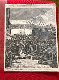 "June 2, 1860 HARPER'S WEEKLY, New York, June 2, 1860  The prime print in this issue is the three-quarter page illustration captioned: ""The Slave Deck on the Bark 'Wildfire' Brought Into Key West on April 30, 1860."" This print shows a huge number of slaves crammed on the deck. The balance of the page is related text on this slave ship, plus the facing page has additional text and 4 related illustrations including those captioned: ""An African"" ""The Only Baby Among the Africans"" and ""The Barracoon at Key West Where the Africans Are Confined"". Further on in the issue is a lengthy & very detailed article titled: ""On Board A Slaver, By One of the Trade""."